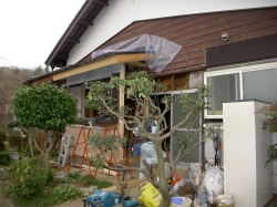 スペースを広げる工程が終わり、外壁や屋根を設置していきます。