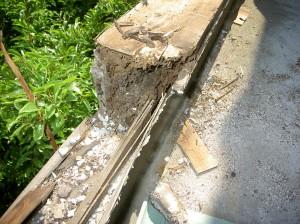 撤去作業中の木材の状態です。